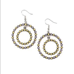 Francescas Yellow Floral Hoop Earrings